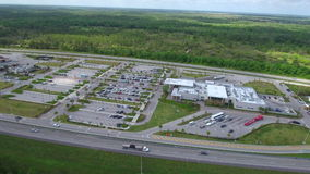 Aerial drone video Turnpike service plaza Fort Drum Florida stock footage