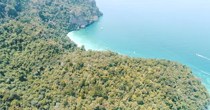 Aerial drone video of Yong Kasem Bay called Monkey beach on Phi Phi island stock video