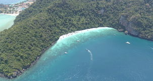 Aerial drone video of Yong Kasem Bay called Monkey beach on Phi Phi island stock footage