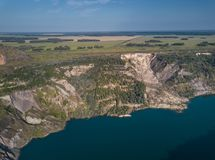 Aerial view of abandoned quarry, central part of Russia stock photos