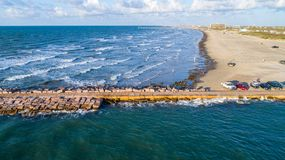 Aerial drone view above amazing Tropical Padre Island Jetti Stock Photography