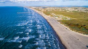 Aerial drone view above amazing Tropical Padre Island Jetti Royalty Free Stock Photography