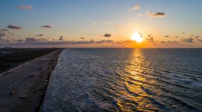 Aerial drone view above amazing Tropical Sunrise at Padre Island Sunrise over the Gulf of Mexico Stock Photo
