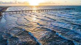 Aerial drone view above amazing Tropical Sunrise at Padre Island Sunrise over the Laguna side of the island Royalty Free Stock Photos