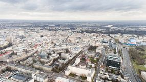 Aerial drone view from above of city center, main street and Vistula river Stock Photos