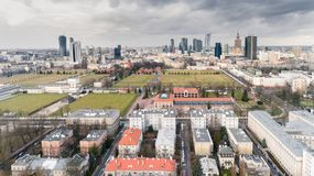 Aerial drone view from above of city center skyline Stock Photography