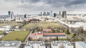 Aerial drone view from above of city center skyline Royalty Free Stock Images