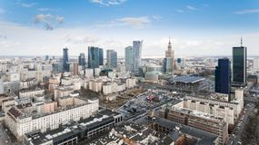 Aerial drone view from above of Warsaw city center skyline Royalty Free Stock Photos