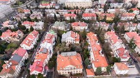 Aerial drone view from above of Warsaw city district with old residential houses. Old, historic part of the city. Royalty Free Stock Photos