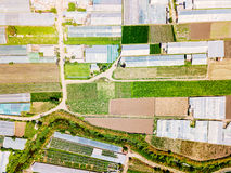 Aerial Drone View Of Agricultural Vegetables Fields And Greenhouses Royalty Free Stock Photos