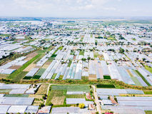 Aerial Drone View Of Agricultural Vegetables Fields And Greenhouses Royalty Free Stock Images