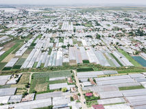 Aerial Drone View Of Agricultural Vegetables Fields And Greenhouses Stock Images