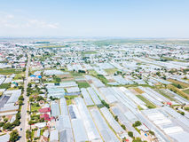 Aerial Drone View Of Agricultural Vegetables Fields And Greenhouses Stock Photo