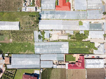 Aerial Drone View Of Agricultural Vegetables Fields And Greenhouses Stock Image