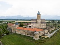 Aerial drone view Alaverdi Monastery in Kakheti, Georgia. Aerial view to Alaverdi Monastery one of the biggest sacred objects in Georgia, located in Kakheti stock images