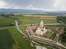 Aerial drone view Alaverdi Monastery in Kakheti, Georgia. Aerial view to Alaverdi Monastery one of the biggest sacred objects in Georgia, located in Kakheti royalty free stock image