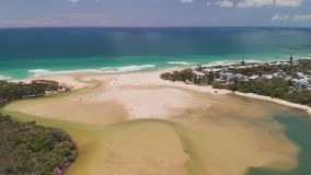 Aerial drone view of beach at Currimundi Lake, Caloundra, Sunshine Coast, Queensland, Australia. Aerial drone view of beach and Currimundi Lake, Caloundra stock video