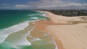 Aerial drone view of beach at Currimundi Lake, Caloundra, Sunshine Coast, Queensland, Australia. Aerial drone view of beach and Currimundi Lake, Caloundra stock video footage