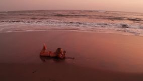 Aerial view of beautiful girl in bikini on the black beach at sunset stock video