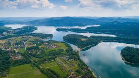 Aerial drone view on beautiful Solina lake in Polish Bieszczady Mountains. Solina, Poland stock image