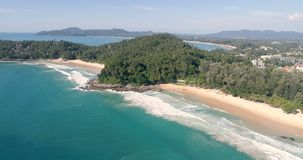 Aerial view of tropical island beach stock footage