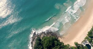 Aerial view of paradise beach and turquoise sea. Aerial drone view of beautiful tropical paradise beach and turquoise sea stock video