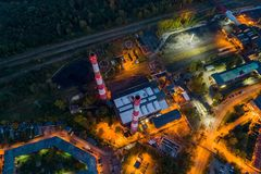 Aerial drone view on black coal mine in Katowice royalty free stock photography