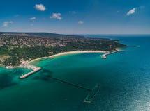 Aerial drone view of Black sea coast. Euxinograd, Varna, Bulgaria Stock Photos
