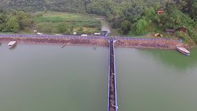 Aerial/drone view of the cacaban dam in the slawi city indonesia stock video footage