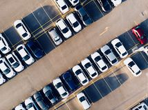 Aerial Drone View of Car Park with Empty Parking Lots. stock photo