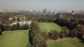 Aerial drone view of the central campus of UNAM, Mexico City. Huixquilucan, Estado de Mexico, Mexico, january 21th 2019:  Aerial drone view of the central campus stock video