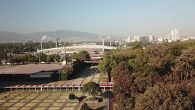 Aerial drone view of the central campus of UNAM, Mexico City stock video