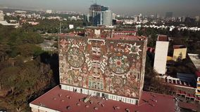 Aerial drone view of the central campus of UNAM, Mexico City stock footage