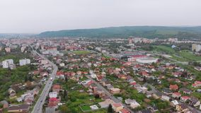 Aerial Drone view of the City of Presov, Slovakia. Landscape view of the Countryside in Europe. Various low houses are located on the low hills of the city stock video