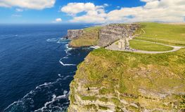 Aerial drone view cliffs of moher in county clare ireland. Royalty Free Stock Images