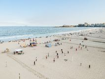 aerial drone view of Copacabana beachs during late afternoon,, some shadows can be seen on the sand. Rio de Janeiro, Brazil stock photos