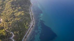 Aerial drone view of Corfu shoreline. Amazing Greece royalty free stock photo