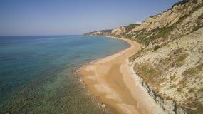 Aerial drone view of Corfu shoreline. Amazing Greece stock photo
