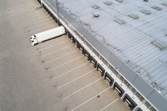 Aerial drone view on distribution center. Logistic and transport concept royalty free stock image