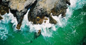 Aerial Drone View Of Dramatic Ocean Waves Royalty Free Stock Photos