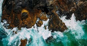 Aerial Drone View Of Dramatic Ocean Waves Royalty Free Stock Photography