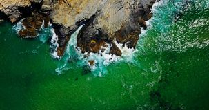 Aerial Drone View Of Dramatic Ocean Waves Stock Photo