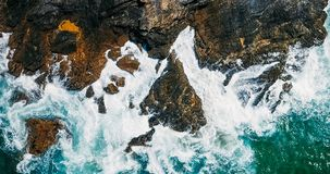 Aerial Drone View Of Dramatic Ocean Waves Stock Photos