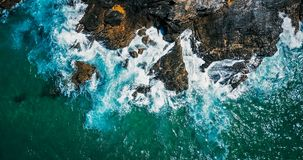 Aerial Drone View Of Dramatic Ocean Waves Stock Images