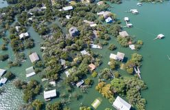 Aerial drone view enitre neighborhood under water major flooding in Central Texas royalty free stock photo