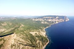 Aerial drone view of an epic seascape, Crimea.  Royalty Free Stock Photography