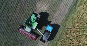 Aerial drone view of farmer driving agricultural combine and truck full of grain. Agriculture sunflower field. Aerial drone view of farmer driving agricultural stock video footage