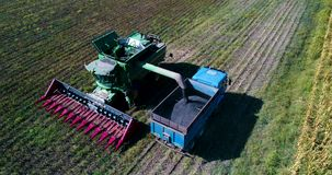 Aerial drone view of farmer driving agricultural combine and truck full of grain. Agriculture sunflower field stock video