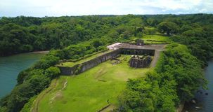 Aerial Drone view of Fort San Lorenzo in Panama. Drone flying over Fort San Lorenzo in Panama stock video footage