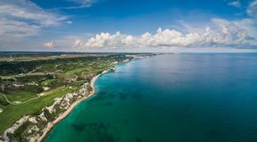 Aerial drone view of a golf course next to the cliffs and Black Royalty Free Stock Images